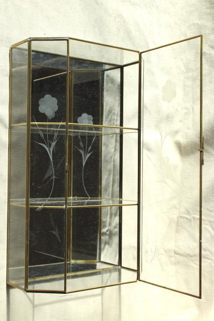 Vintage Brass U0026 Mirror Glass Vitrine Box, Miniature Curio Cabinet Display  Case