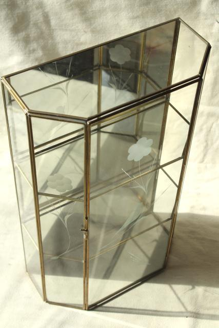 Vintage Brass Amp Mirror Glass Vitrine Box Miniature Curio