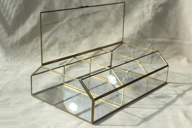 Vintage Brass Amp Mirror Glass Vitrine Box Miniature Curio