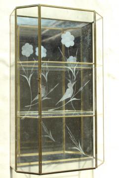 vintage brass & mirror glass vitrine box, miniature curio cabinet display case