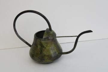 vintage brass or bronze watering can w/ long spout, antique verdigris painted finish