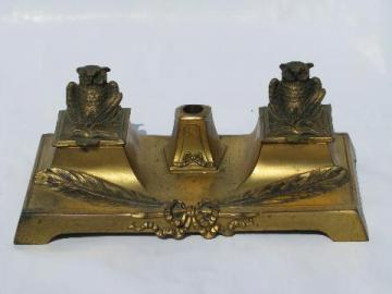 vintage brass or bronze wrinting table desk inkwell, figural owls