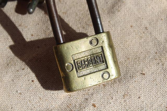 vintage brass padlocks & shackle lock, Sargent, Safe, Sea Bag Auto Loc