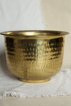 vintage brass planter, large pot for indoor tree or cactus, hammered metal w/ tree bark texture