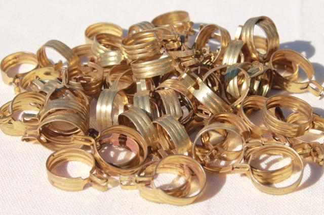 vintage brass plated curtain rings, lot of 60 curtain clips for cafe curtains