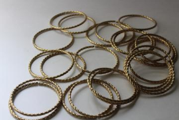 vintage brass plated curtain rings, rope twisted metal hoops like big bangles