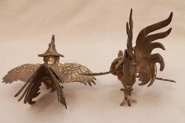 vintage brass roosters, pair of fierce fighting birds, cast metal animal figurines