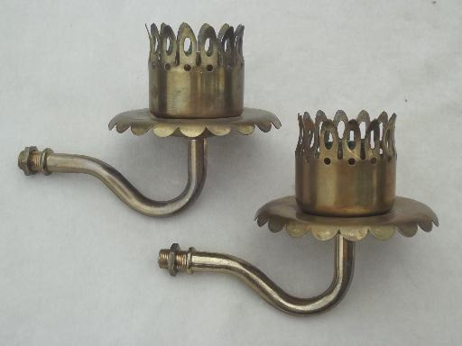 Antique Wall Light Parts : vintage brass sconce lamps / wall mount lights set, vintage lighting parts