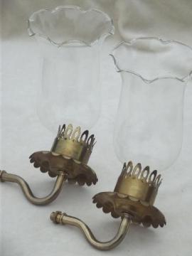 vintage brass sconce lamps / wall mount lights set, vintage lighting parts