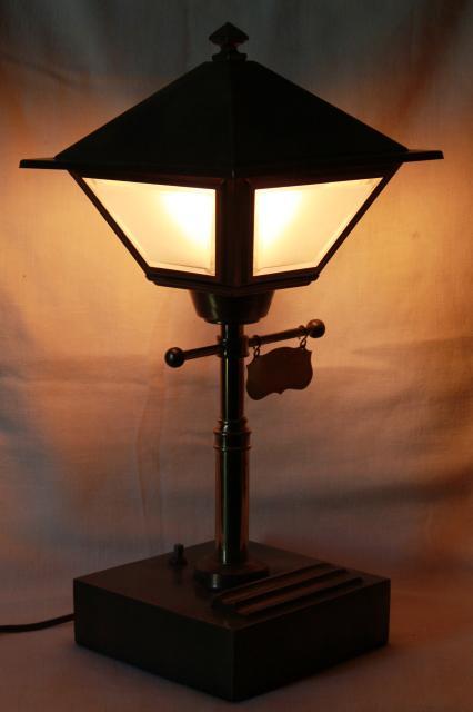Vintage Brass Street Lamp Electric Desk Light W Metal