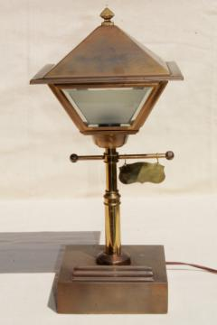 vintage brass 'street lamp' electric desk light w/ metal lantern shade
