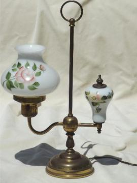 vintage brass student lamp w/ painted milk glass shade shade & font