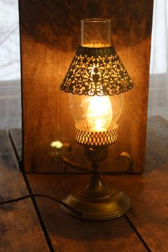 vintage brass table lamp, glass hurricane w/ filigree metal shade, bohemian style