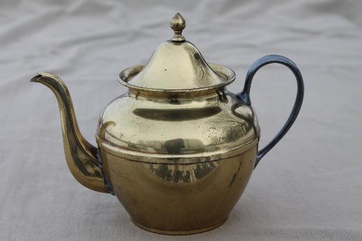 Vintage Brass Teapot, Old Farberware Brooklyn New York