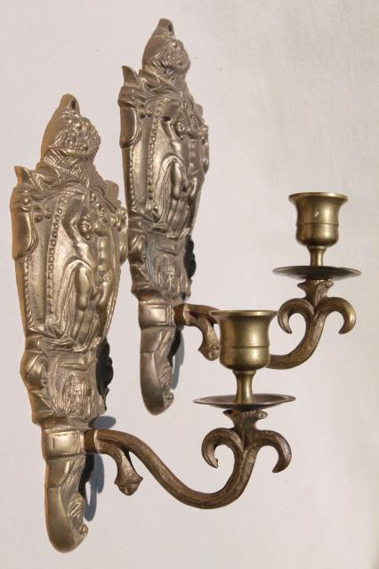 Vintage Br Wall Sconce Pair Candle Sconces W Embossed Figures Of Clical Mythology