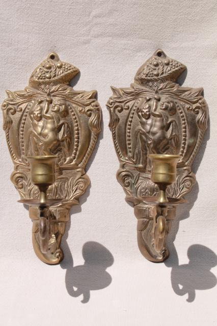 vintage brass wall sconce pair, candle sconces w/ embossed figures of classical mythology