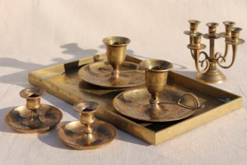 vintage brassware, solid brass tray, collection of candle holders for small candles