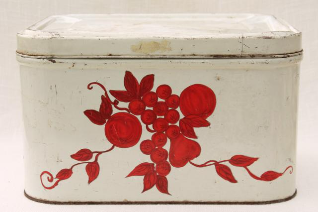vintage bread tin breadbox, shabby old white paint w/ red stencil painted fruit
