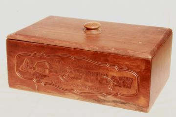 vintage breadbox Give Us This Day Our Daily Bread vintage country pine wood bread box