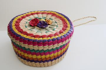 vintage bright colored woven straw sewing basket, round hat box shape