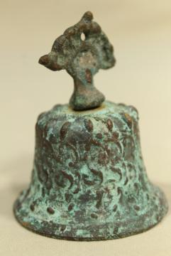 vintage bronze temple or garden bell w/ verdigris green, handcrafted souvenir metal art