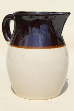 vintage brown band stoneware pitcher or milk jug, RRP Robinson Ransbottom pottery Roseville