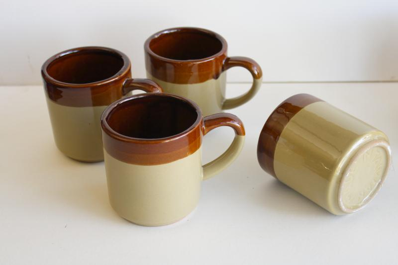vintage brown band stoneware pottery coffee pot set cream & sugar, mugs