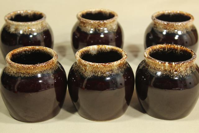 vintage brown drip glaze pottery bean pots individual bakers or bowls marked USA
