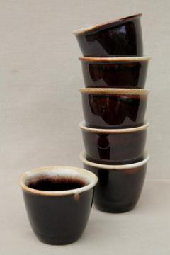 vintage brown drip glaze pottery custard cups, set of six creme brulee pots