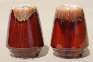 vintage brown drip glaze pottery, large S&P salt & pepper shakers set