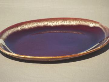 vintage brown drip glaze pottery meat platter or sandwich plate