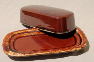 vintage brown drip glaze stoneware pottery, covered plate butter dish