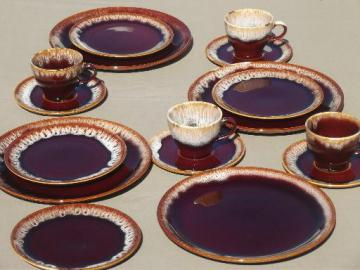 vintage brown drip pottery dishes set for four, plates, cups & saucers