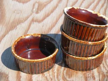 vintage brown drip pottery individual baking ramekins or custard cups