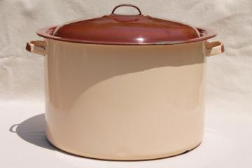 vintage brown & tan enamelware canner / stock pot for hot water home canning