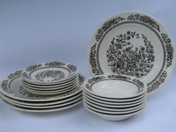 vintage brown transferware Sussex pattern Royal ironstone china, plates & bowls