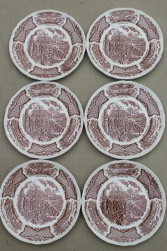 vintage brown transferware china plates, Fair Winds tall ships & Chinese junks