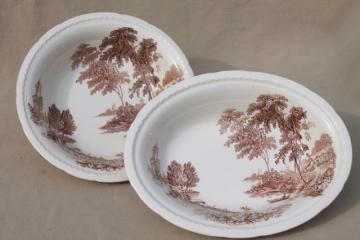vintage brown transferware china serving bowls, Swinnerton's The Ferry toile style print