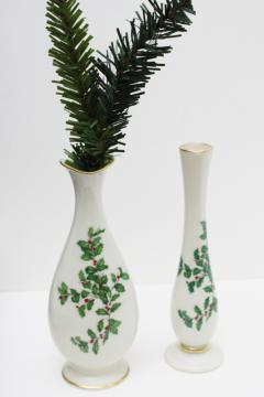 vintage bud vases Lenox holiday green & red holly pattern china, ivory w/ gold