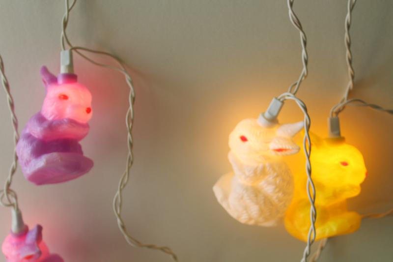 vintage bunny rabbit blow mold fairy lights, holiday party decor or for Easter tree