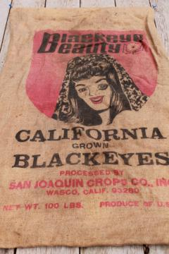 vintage burlap bag, blackeyed peas sack w/ Blackeye Beauty girl graphics