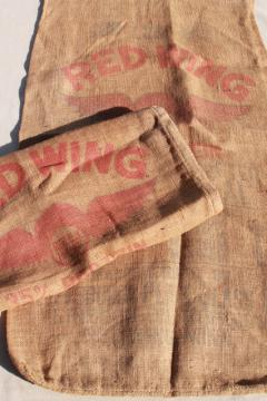 vintage burlap grain sacks, livestock farm feed bags w/ old Red Wing advertising graphics