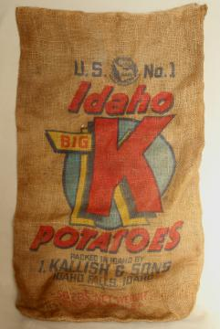 vintage burlap gunny sack, Big K potatoes bright colorful print graphics