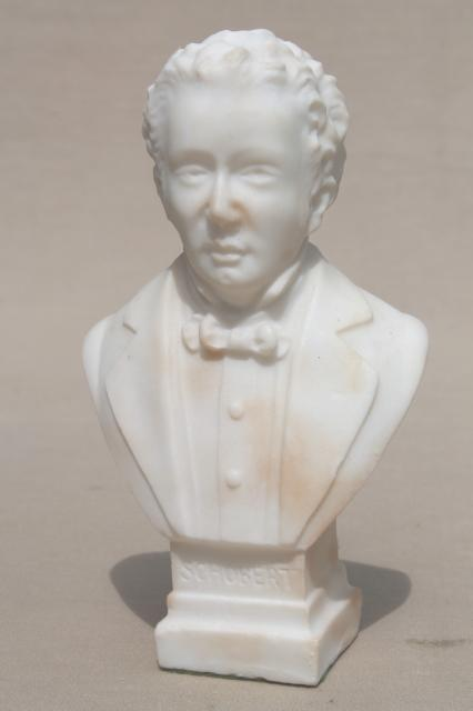 Vintage Busts Of Brahms Amp Schubert Great Composers Classical Alabaster White Marble Statues