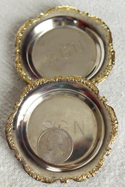 vintage butter pat plates, Saigon engraved silverplate gold electroplate