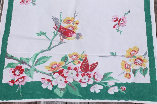 Vintage Butterflies U0026 Flowers Print Cotton Dish Towels, 40s 50s Printed  Kitchen Linens