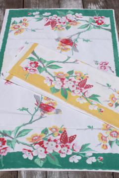 vintage butterflies & flowers print cotton dish towels, 40s 50s printed kitchen linens