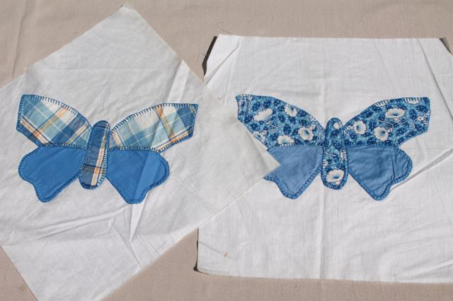 vintage butterfly applique quilt blocks, hand stitched embroidery w/ pretty cotton prints