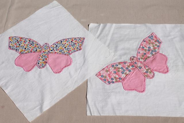 butterfly applique quilt blocks, hand stitched embroidery w ... : butterfly applique quilt - Adamdwight.com