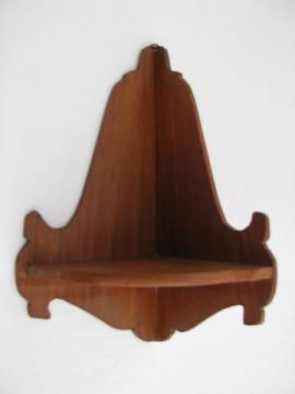vintage butternut wood corner shelf